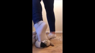 Hot Girl Humiliates and Crushes Toy Teddy Bear in Dirty Shoes and Socks.