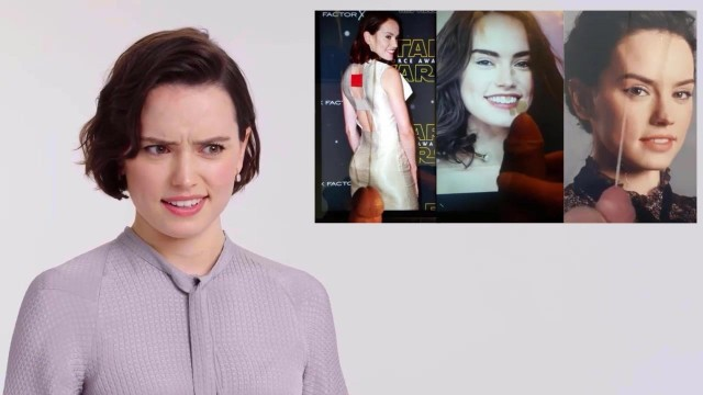Daisy Ridley reacting to cum tribute, tributers. Fake