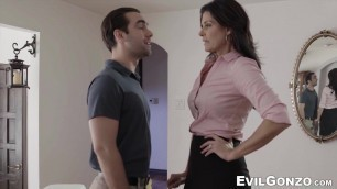 Adorable mature woman in heels bangs hard with a young guy